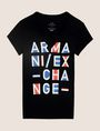 ARMANI EXCHANGE BLOCK LETTER V-NECK TEE Logo T-shirt Woman r