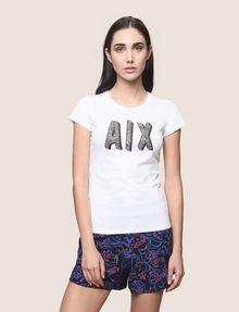 ARMANI EXCHANGE BEADED COMIC LOGO TEE Logo T-shirt Woman f