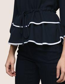 ARMANI EXCHANGE CINCHED-WAIST PEPLUM BLOUSE S/L Knit Top Woman b