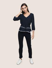 ARMANI EXCHANGE CINCHED-WAIST PEPLUM BLOUSE S/L Knit Top Woman d