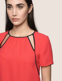 ARMANI EXCHANGE CUTOUT NECKLINE BLOUSE S/L Woven Top Woman b