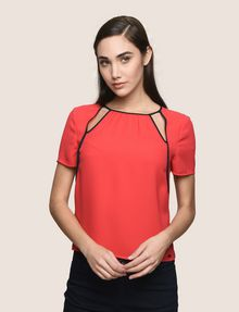 ARMANI EXCHANGE CUTOUT NECKLINE BLOUSE S/L Woven Top Woman f