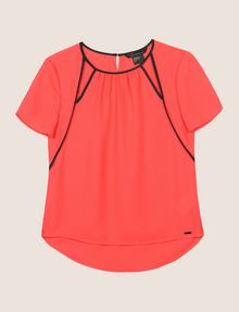 ARMANI EXCHANGE CUTOUT NECKLINE BLOUSE S/L Woven Top Woman r