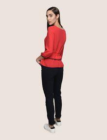 ARMANI EXCHANGE CINCHED-WAIST PEPLUM BLOUSE S/L Knit Top Woman e
