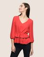 ARMANI EXCHANGE CINCHED-WAIST PEPLUM BLOUSE S/L Knit Top Woman f