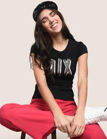 ARMANI EXCHANGE BEADED COMIC LOGO TEE Logo T-shirt Woman a