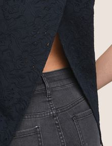 ARMANI EXCHANGE OPEN-BACK EYELET TOP S/L Knit Top [*** pickupInStoreShipping_info ***] b