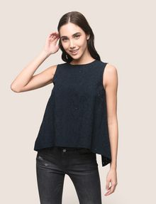 ARMANI EXCHANGE OPEN-BACK EYELET TOP S/L Knit Top [*** pickupInStoreShipping_info ***] f
