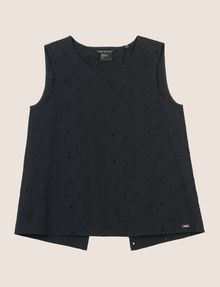 ARMANI EXCHANGE OPEN-BACK EYELET TOP S/L Knit Top [*** pickupInStoreShipping_info ***] r
