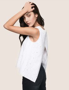 ARMANI EXCHANGE OPEN-BACK EYELET TOP S/S Knit Top Woman a