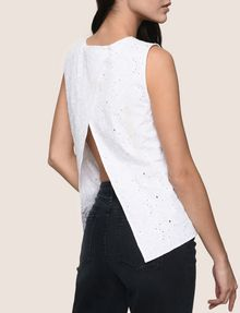 ARMANI EXCHANGE OPEN-BACK EYELET TOP S/S Knit Top Woman b