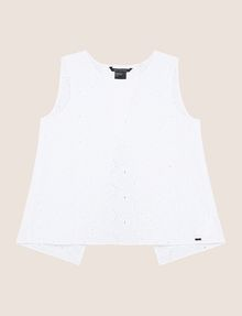 ARMANI EXCHANGE OPEN-BACK EYELET TOP S/S Knit Top Woman r