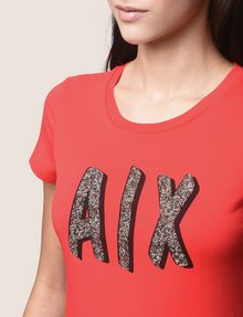 ARMANI EXCHANGE BEADED COMIC LOGO TEE Logo T-shirt Woman a