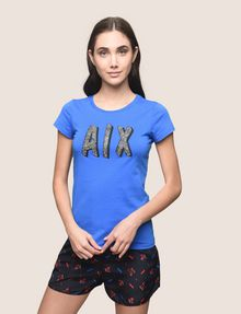 ARMANI EXCHANGE BEADED COMIC LOGO TEE Logo T-shirt Woman f