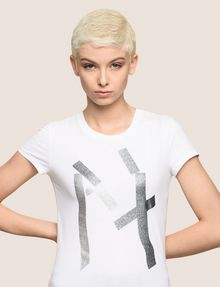 ARMANI EXCHANGE GLITTER TAPE LOGO TEE Logo T-shirt Woman a