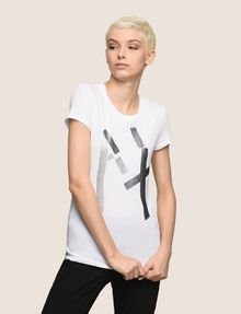 ARMANI EXCHANGE GLITTER TAPE LOGO TEE Logo T-shirt Woman f