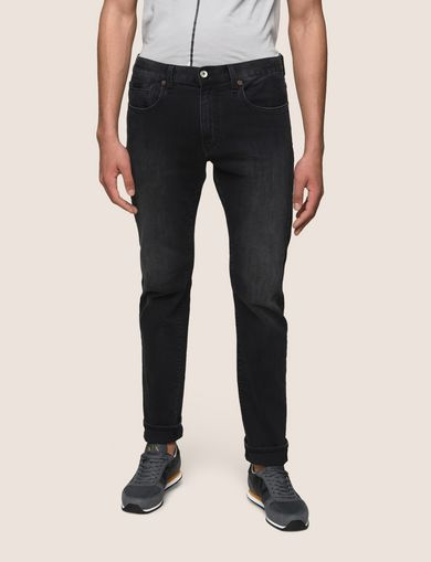 SLIM-FIT WASHED BLACK JEANS