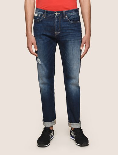 STRAIGHT-LEG DARK INDIGO WASH JEANS