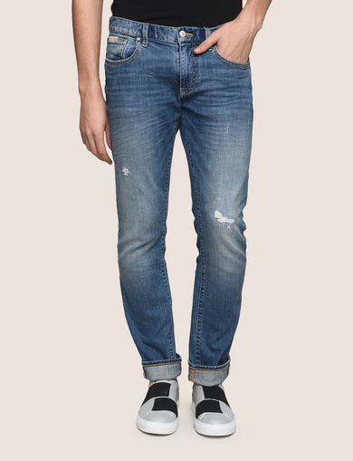 SLIM-FIT DISTRESSED INDIGO JEAN