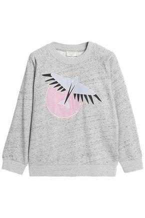 MAISON KITSUNÉ Embroidered mélange cotton-terry sweatshirt