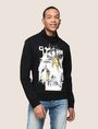 ARMANI EXCHANGE FOIL OVERLAY EAGLE HOODIE Fleece Top Man f