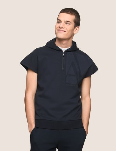 ZIPPERED HOOD SHORT-SLEEVE SWEATSHIRT