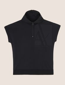 ARMANI EXCHANGE ZIPPERED HOOD SHORT-SLEEVE SWEATSHIRT Fleece Top Man r