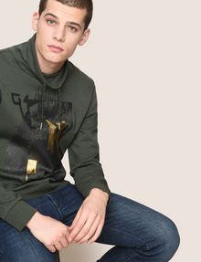 ARMANI EXCHANGE FOIL OVERLAY EAGLE HOODIE Fleece Top Man a