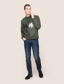 ARMANI EXCHANGE FOIL OVERLAY EAGLE HOODIE Fleece Top Man d