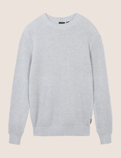 TEXTURED STITCH CREWNECK SWEATER