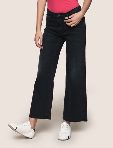 CROPPED BLACKENED INDIGO WIDE-LEG JEANS