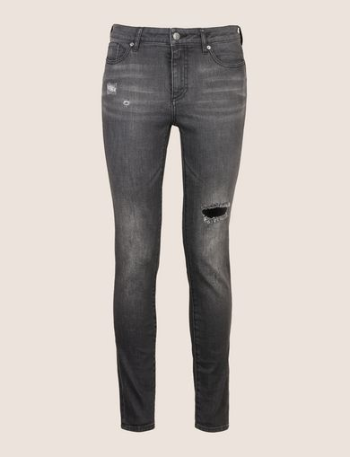 SUPER-SKINNY DISTRESSED WASHED GREY JEAN