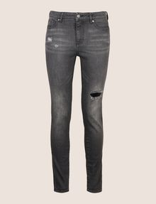 ARMANI EXCHANGE SUPER-SKINNY DISTRESSED WASHED GREY JEAN Skinny jeans Woman r