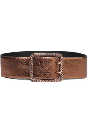 JUST CAVALLI Metallic snake-effect leather belt