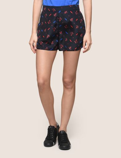 PRINTED CURVED-HEM SHORTS