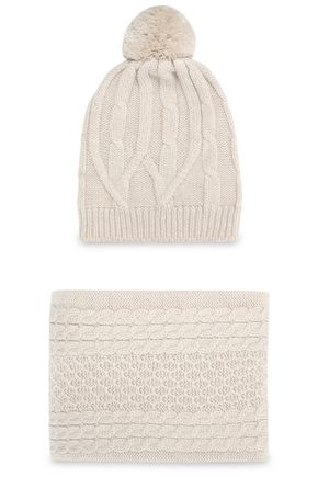 CHINTI AND PARKER Cable-knit merino wool scarf and hat set