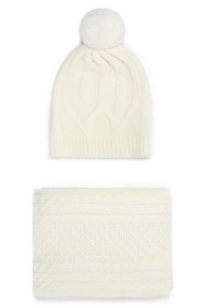 CHINTI AND PARKER Cable-knit merino wool beanie and scarf set