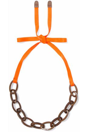 MARNI Neon grosgrain, wood and enamel necklace