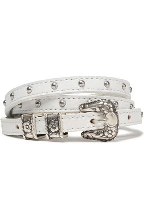 JUST CAVALLI Stud-embellished leather belt