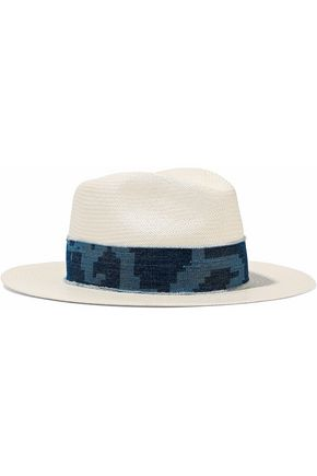 RAG & BONE Denim-trimmed straw Panama hat