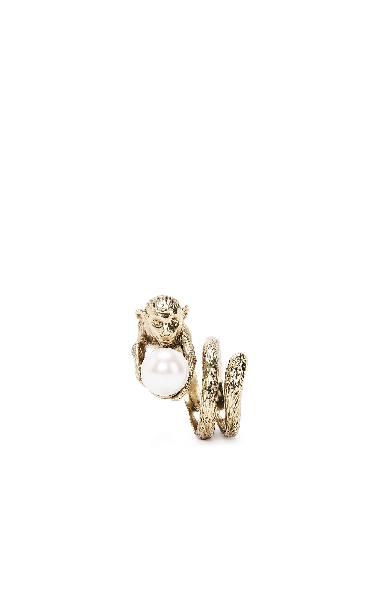 Stylised monkey and pearl ring.