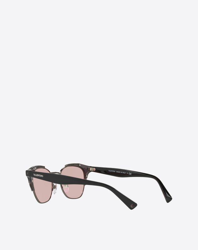HALF-RIM CAT-EYE METAL AND ACETATE SUNGLASSES