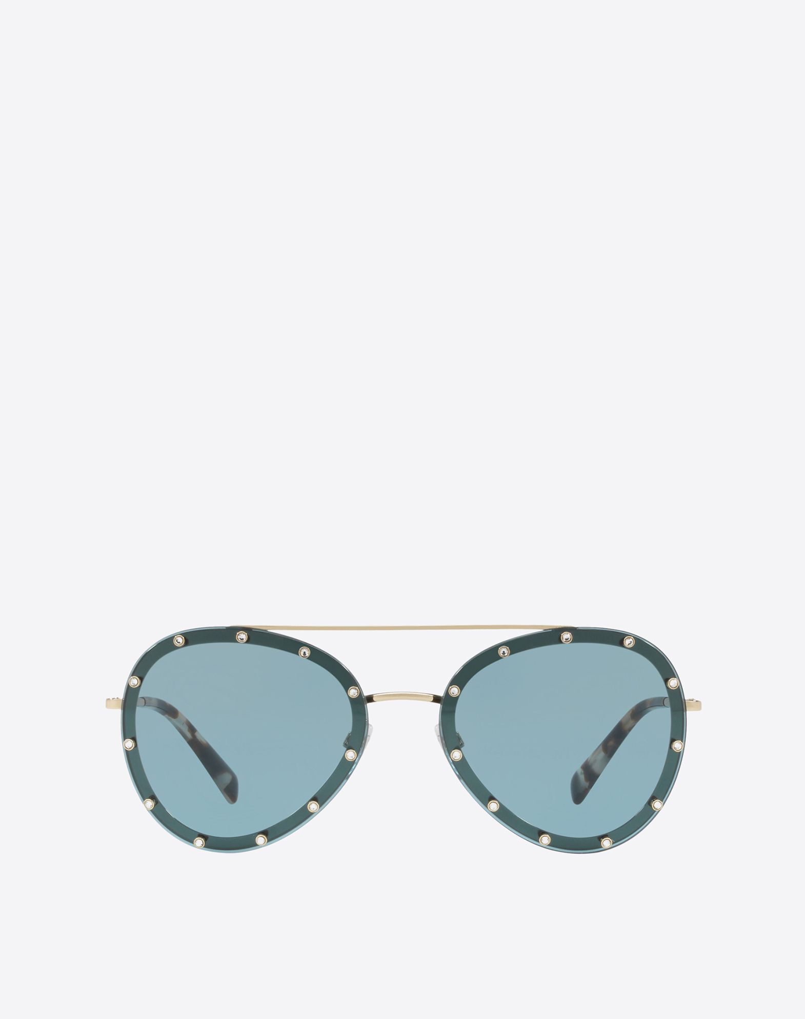 CRYSTAL STUDDED AVIATOR  FRAME METAL SUNGLASSES