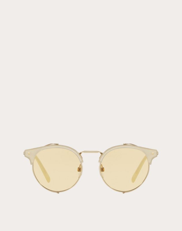 HALF-RIM ROUND METAL AND ACETATE SUNGLASSES WITH MIRRORED LENS