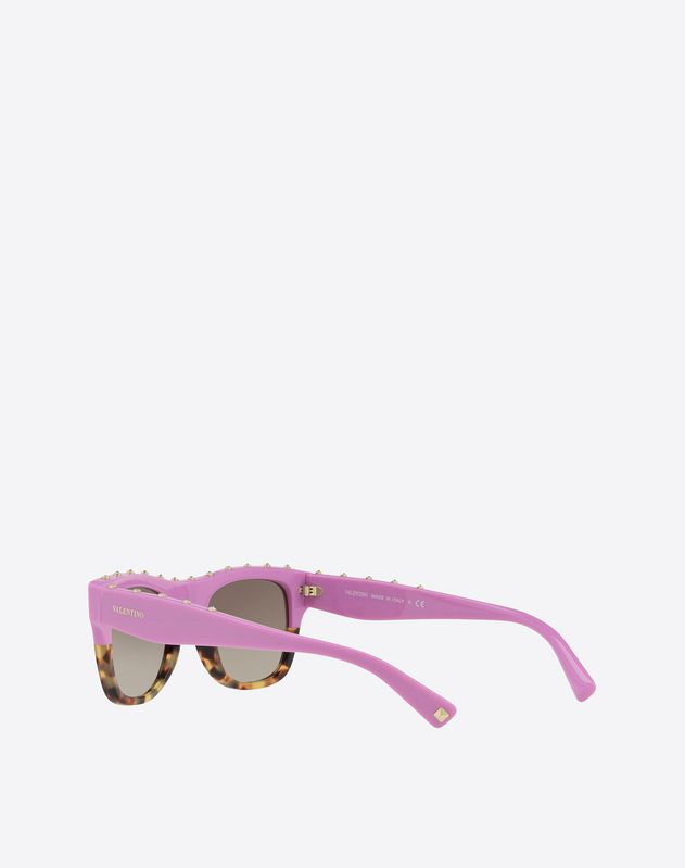 TWO-TONE SQUARE SUNGLASSES WITH CRYSTAL TRIM