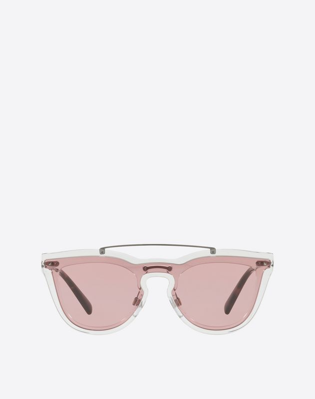 PEAKED SQUARE METAL SUNGLASSES WITH MIRRORED LENS