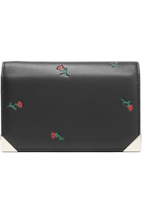 ALEXANDER WANG Floral appliquéd leather clutch