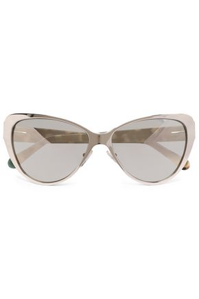 PRISM Cat-eye acetate and gold-tone mirrored sunglasses
