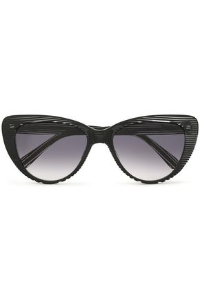 PRISM Cat-eye striped acetate sunglasses