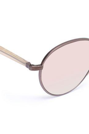SUNDAY SOMEWHERE Aviator-style rose gold-tone sunglasses